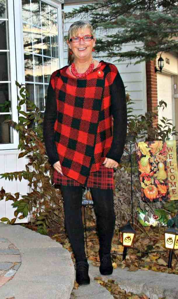Hudsons Bay Company Red plaid hooded sweater withplaid skirt by George and LNBF leggings