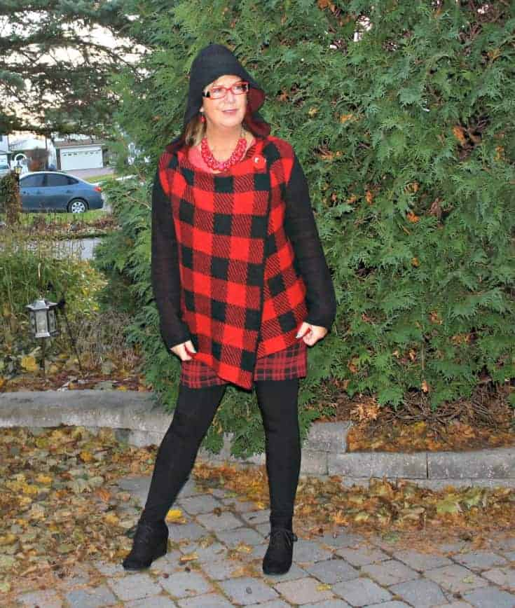Hudsons Bay Company Red plaid hooded sweater with Wedge boots and LNBF leggings