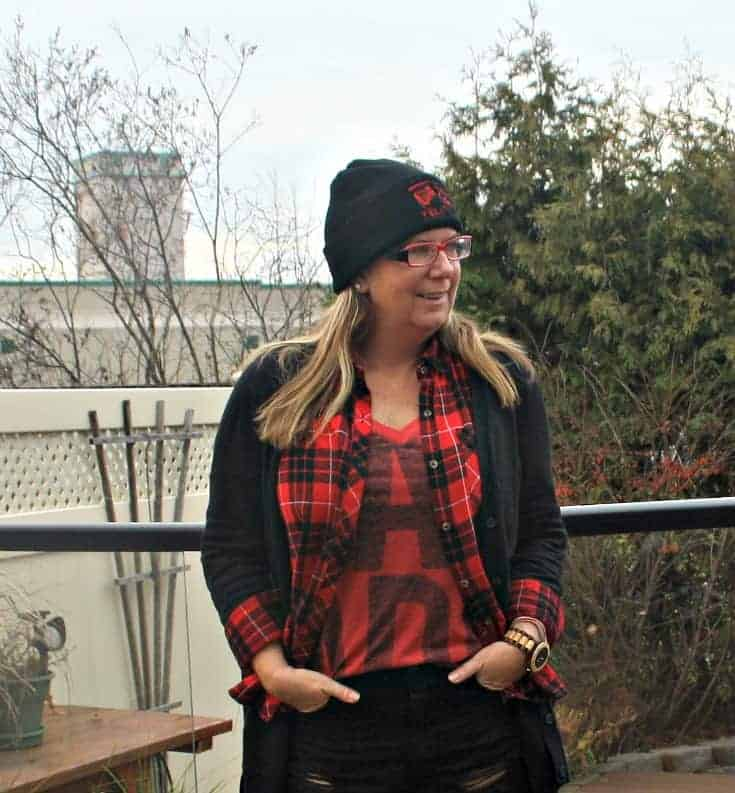 Forever 21 buffalo Plaid and a Canada Shirt from Old Navy with a toque, Hello Canada