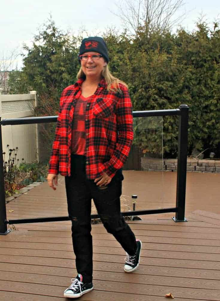 distressed denim, buffalo Plaid and a Canada Shirt from Old Navy, converse and  a toque, Hello Canada