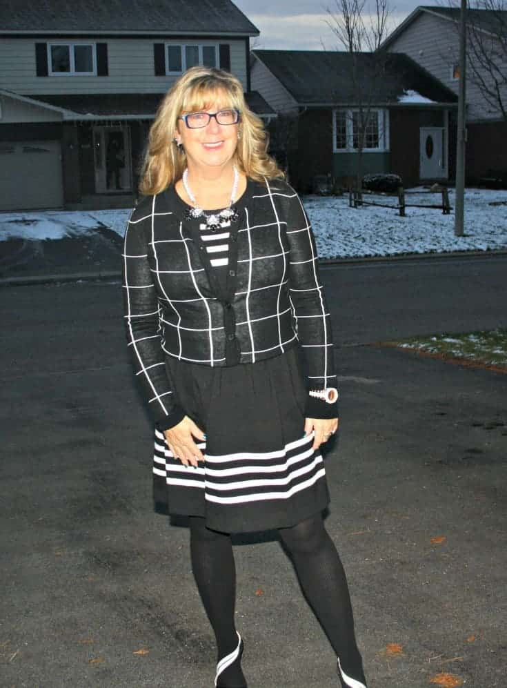 Black and white dress with windowpane sweater from Target