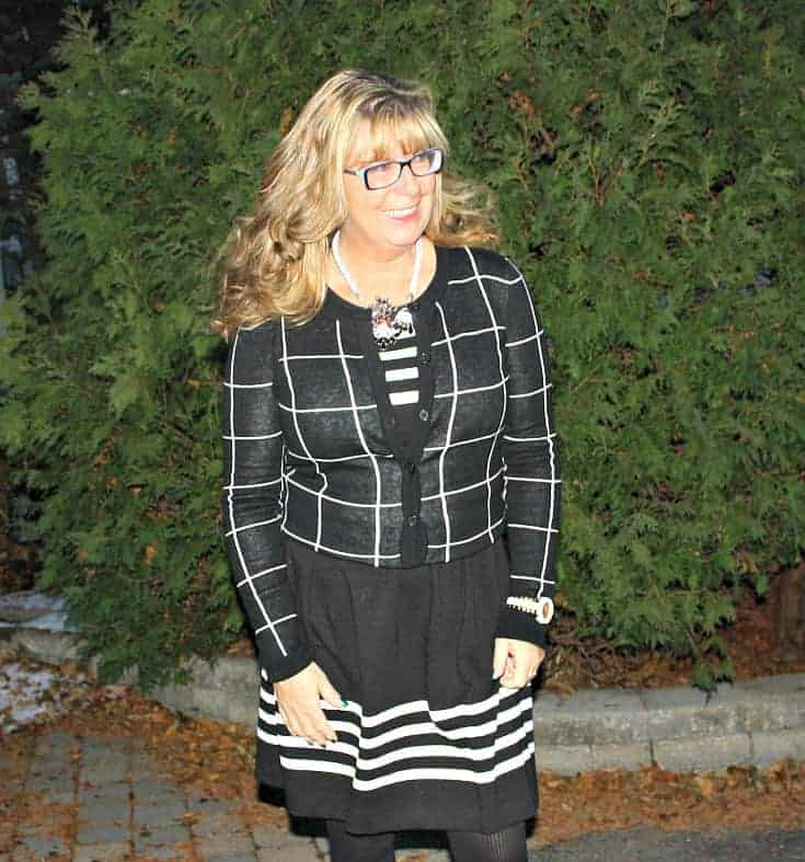 Black and white dress with windowpane sweater with Kate Spade watch
