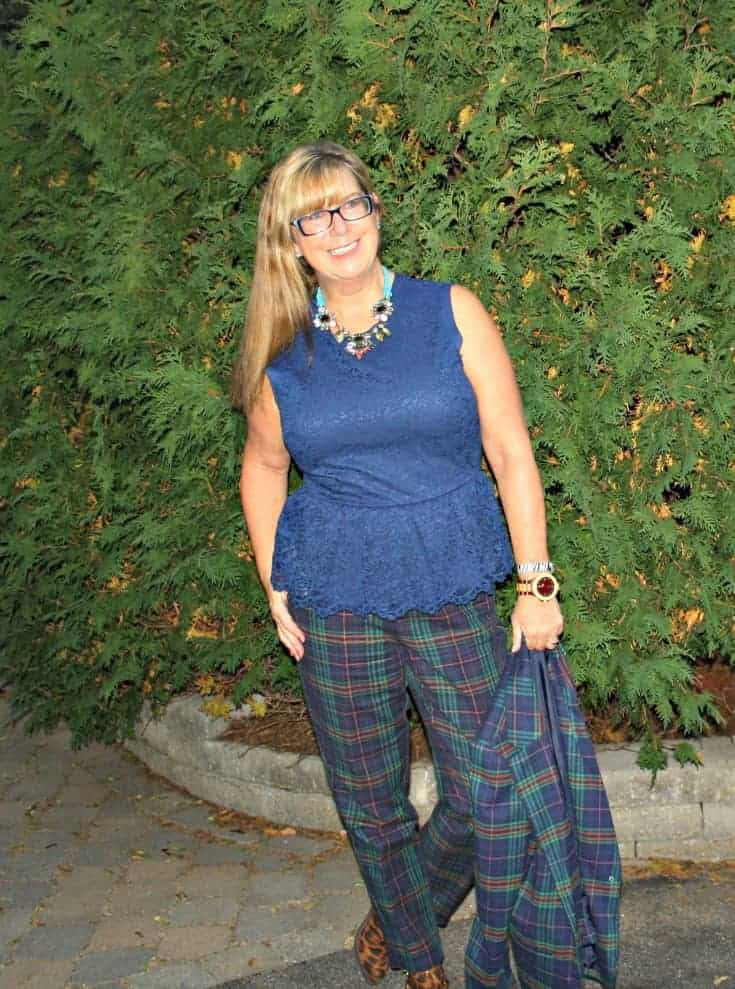 Jord watch with my Blue plaid Merona suit from target and lace peplum blouse with leopard boots