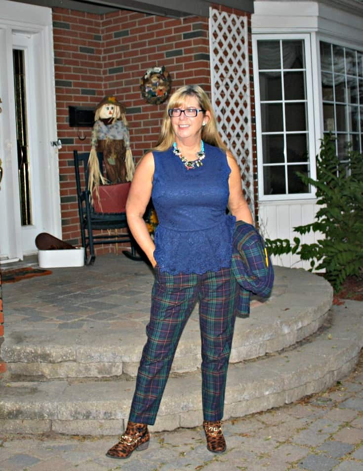 Blue plaid Merona suit from target and lace peplum blouse with leopard boots