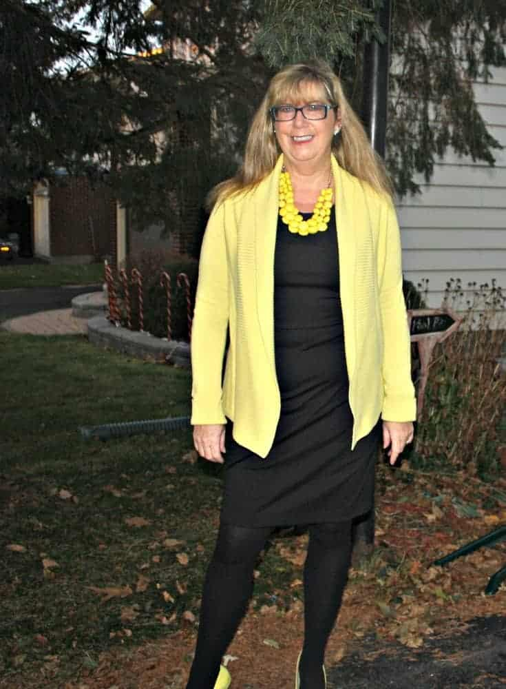Vanheusen Yellow Cardigan with a LBD and matching Signature pumps