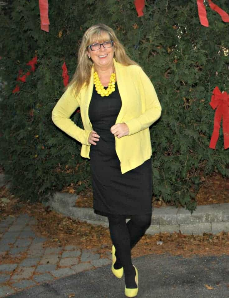 Yellow Necklace, Vanheusen Yellow Cardigan with a LBD and matching Signature pumps from Shoe Dazzle