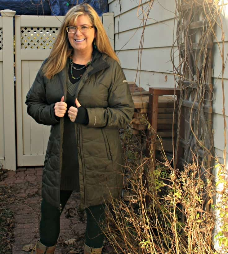 Columbia Coat and Banana Republic tunic and LNBF Leggings with Giant Tiger Boots