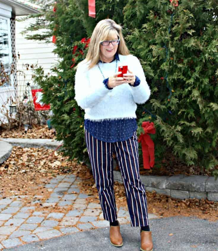 Harper Pants and polka dot shirt  from Old Navy,