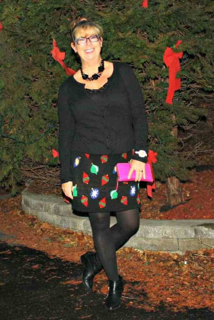 Target Christmas Skirt with Cardigan and Booties, Kate Spade Wallet and watch 1
