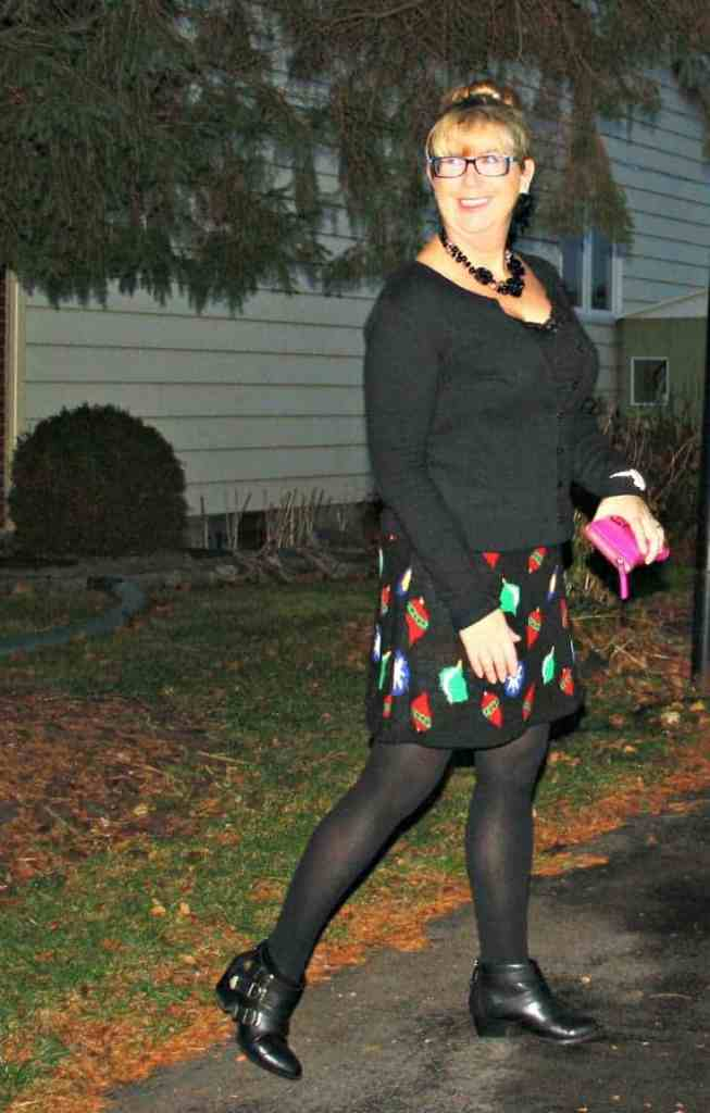 Target Christmas Skirt with Cardigan and Booties, Kate Spade Wallet and watch 2