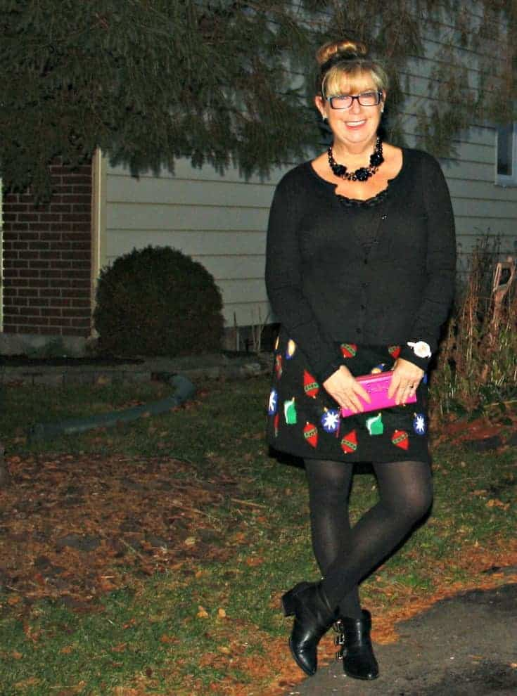 Target Christmas Skirt with Cardigan and Booties, Kate Spade Wallet and watch 3