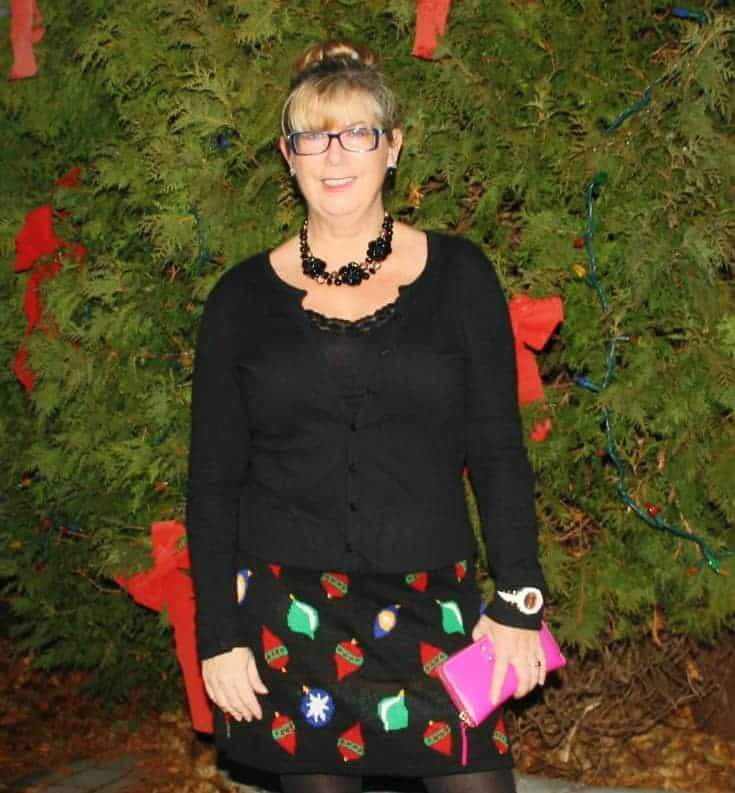 Target Christmas Skirt with Cardigan and Booties, Kate Spade Wallet and watch 4
