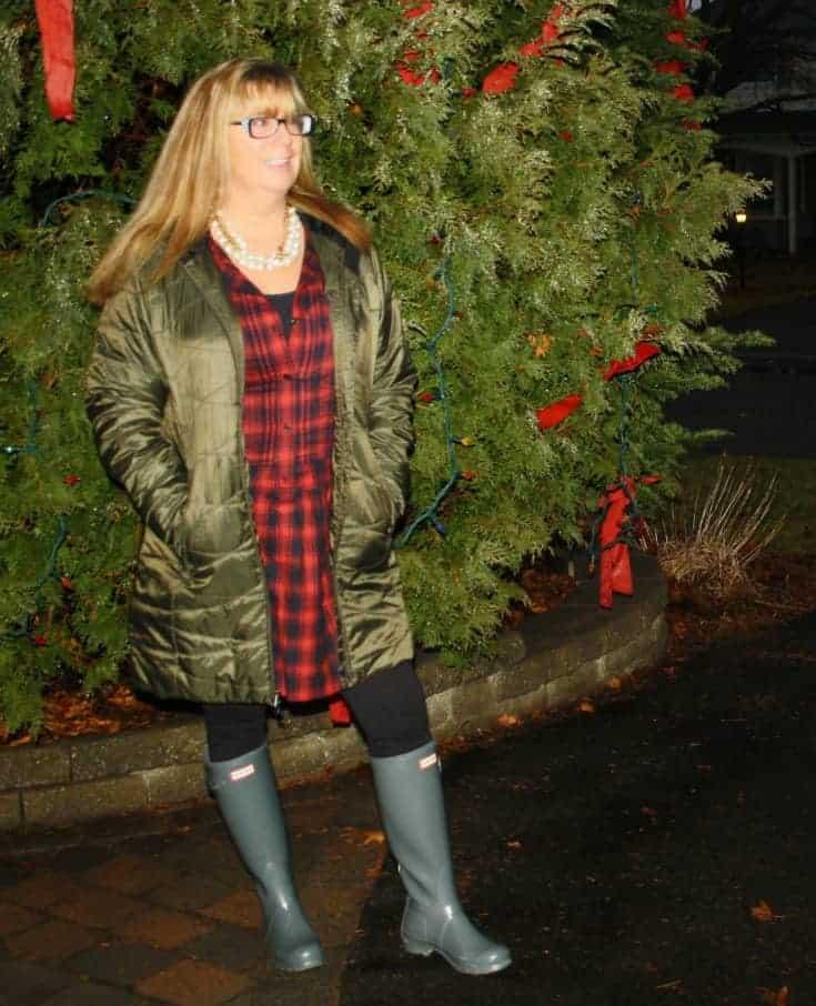 Columbia coat and hunter boots