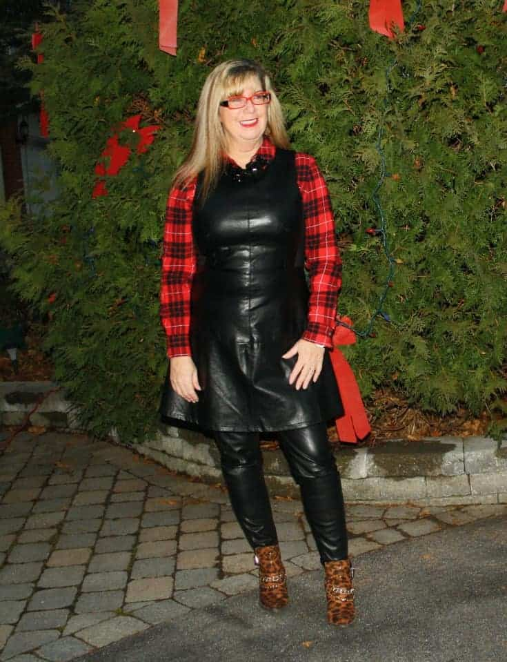 F 21 Leather Dress with Buffalo plaid shirt and some leopard boots 3