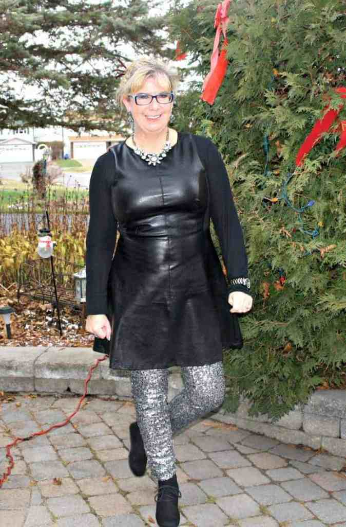 F 21 Leather Dress with H&M Sequin Leggings and a wedge Boot, necklace by Avon 2