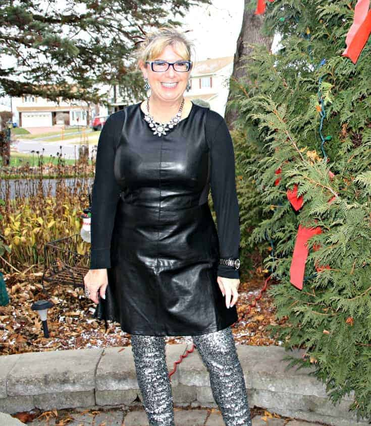 F 21 Leather Dress with H&M Sequin Leggings and a wedge Boot, necklace by Avon 3