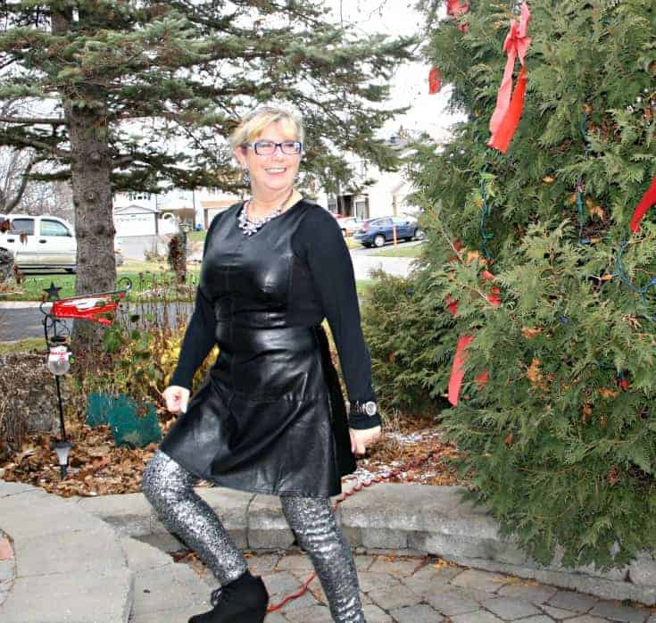 F 21 Leather Dress with H&M Sequin Leggings and a wedge Boot, necklace by Avon 6