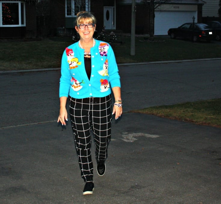 snowman sweater and windowpane joggers from Target, Konifer watch and quilted loafers 8