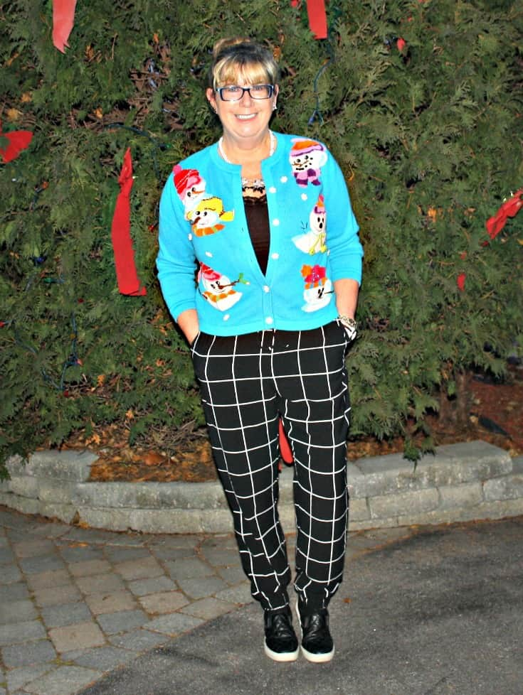 snowman sweater and windowpane joggers from Target, Konifer watch and quilted loafers 4