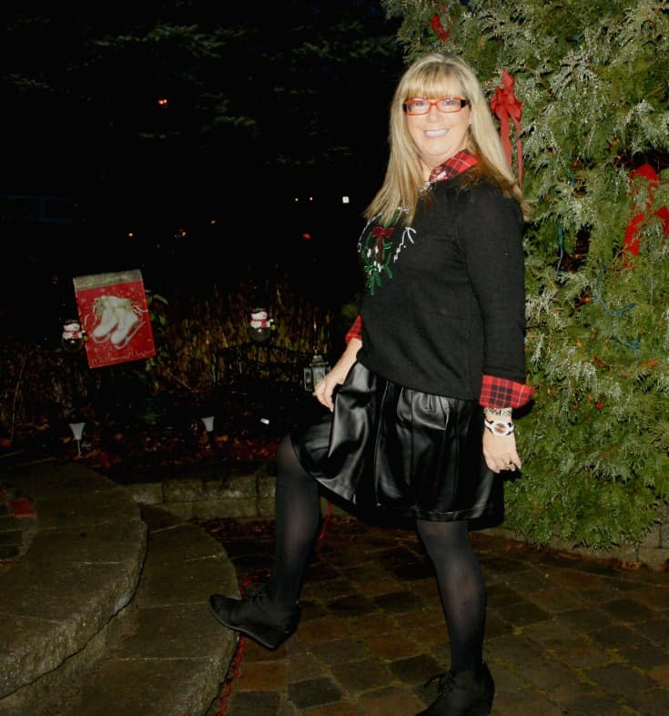 H&M Christmas sweater with flannel and a leather skirt, wedge boots by George 2