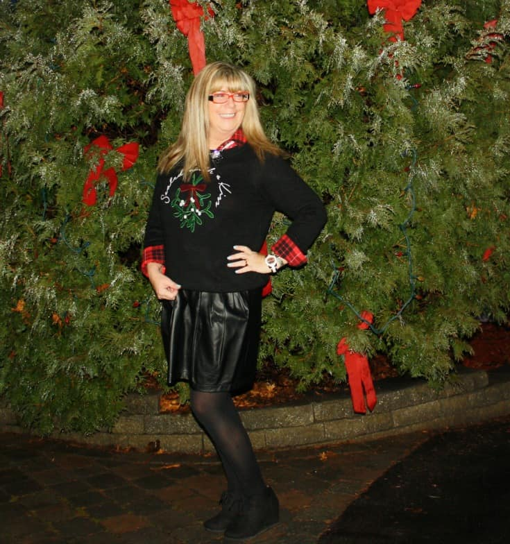 H&M Christmas sweater with flannel and a leather skirt, wedge boots by George 3