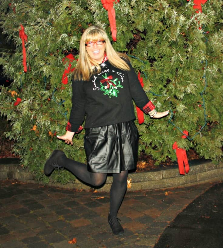 H&M Christmas sweater with flannel and a leather skirt, wedge boots by George 5