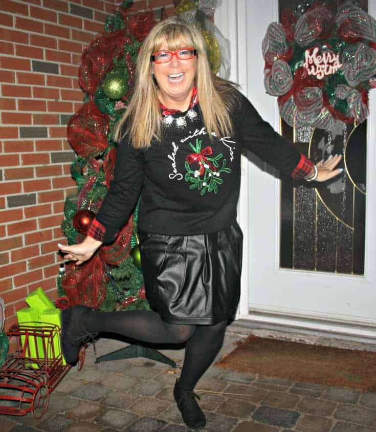 H&M Christmas sweater with flannel and a leather skirt, wedge boots by George 7