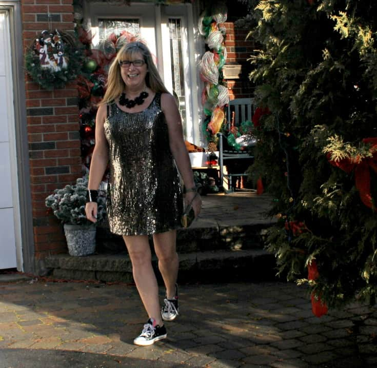 Gold sequin dress and converse for NYE 6
