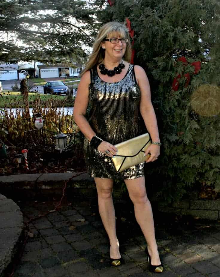Gold sequin dress , envelope clutch and gold toe capped pumps from J Crew 3