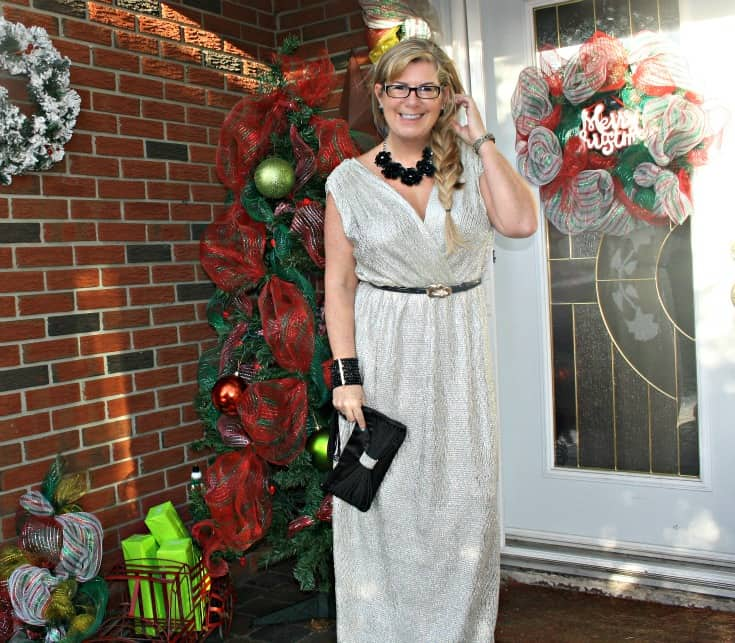 Gold Shimmer Dress from LuLu's with rose belt. Statement accessories from Walmart, Joe Fresh and Le Chateau
