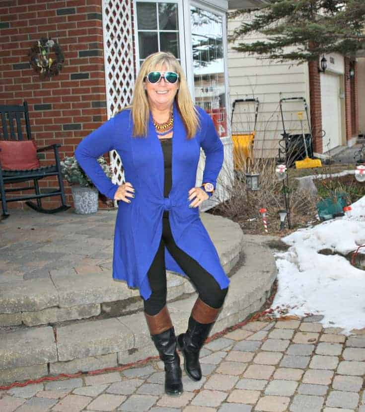 Royal Blue Cardi and tights from Giant Tiger and Target boots f21 sunglasses