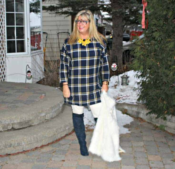 old navy plaid dress and white fur vest with floral necklace