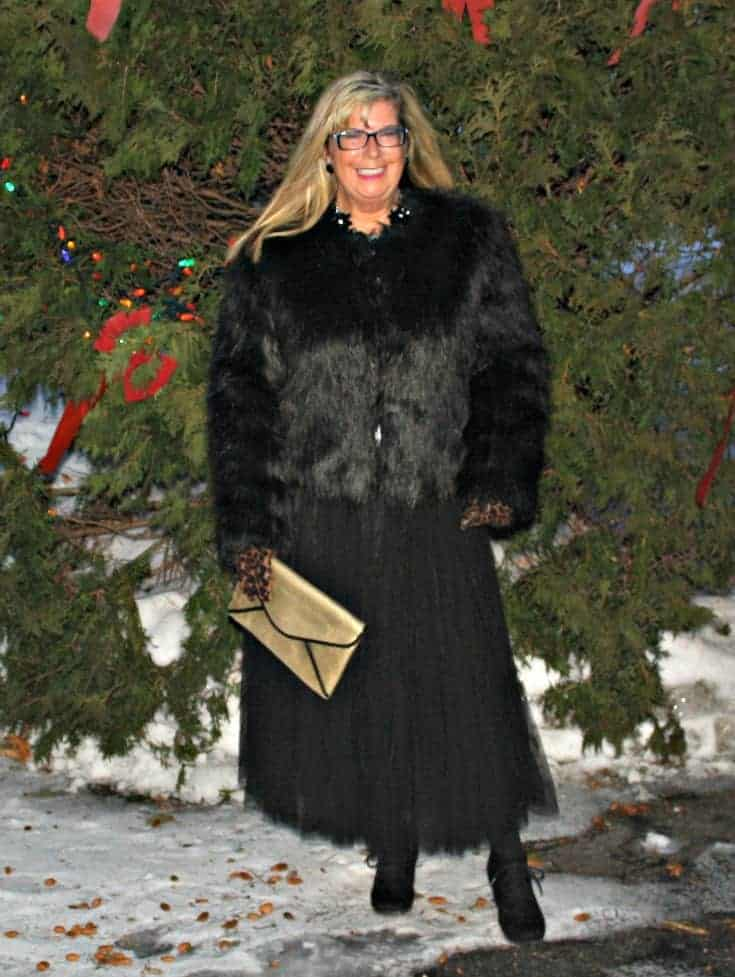 Target Fur coat and Shein Tulle skirt with gold clutch and leopard gloves