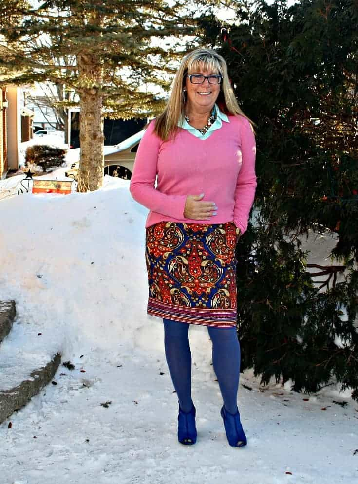 Target Pink Paisley skirt with a pink cashmere sweater and blue mesh booties from shoe dazzle