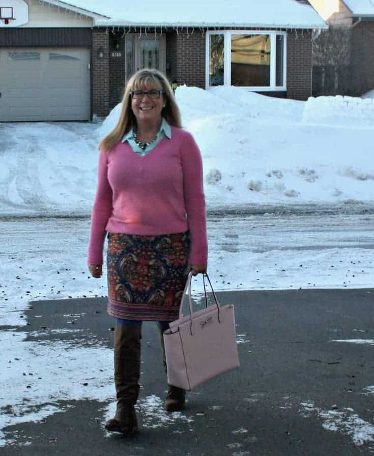 Target Paisley skirt with a pink cashmere sweater and a blush kate spade bag