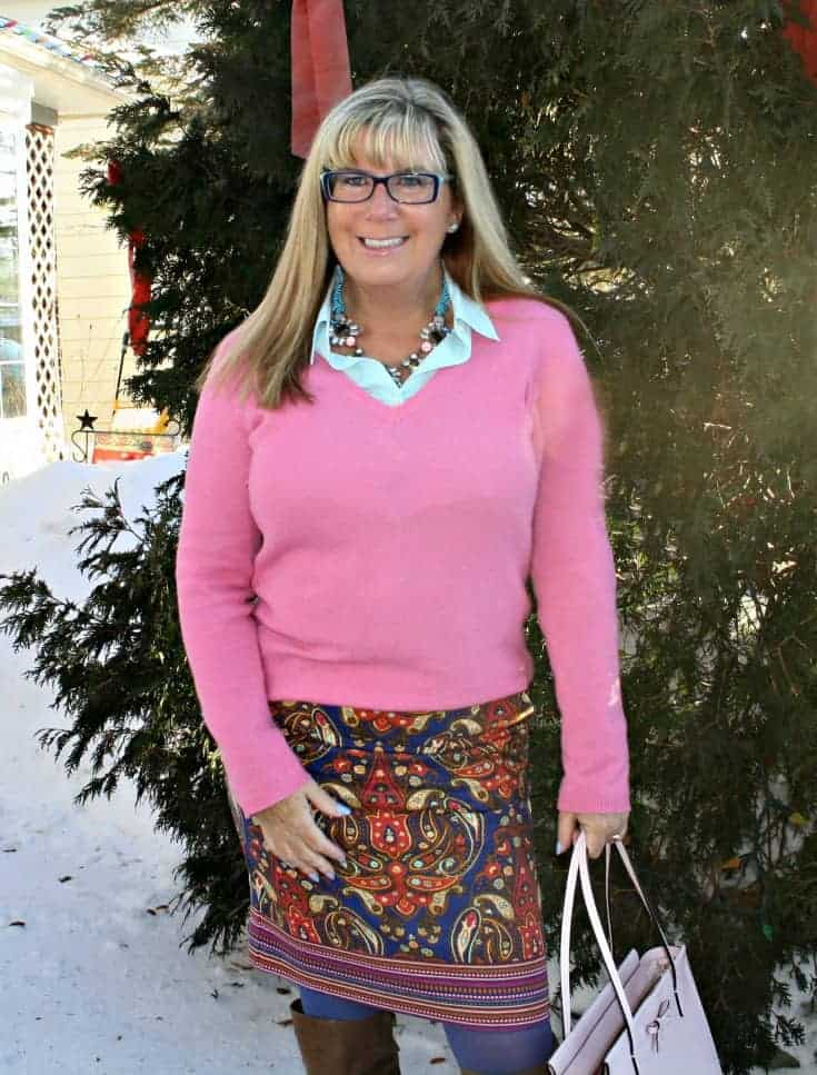 Target Pink Paisley skirt with a pink cashmere sweater in the snow