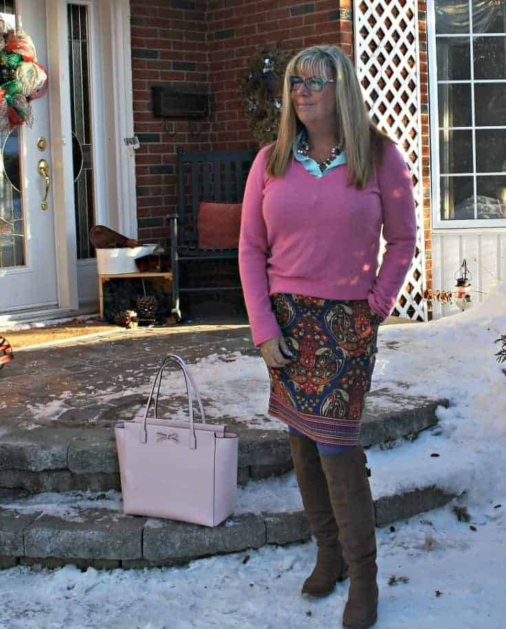 Target Pink Paisley skirt with a pink cashmere sweater and blush kate spade bag
