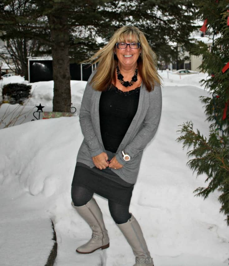 grey striped skirt, boyfriend cardigan from Old Navy and the Jessie Boot from Shoe Dazzle