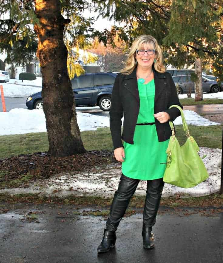 Old Navy Kelly green shirt dress and banana republic black wool moto jacket