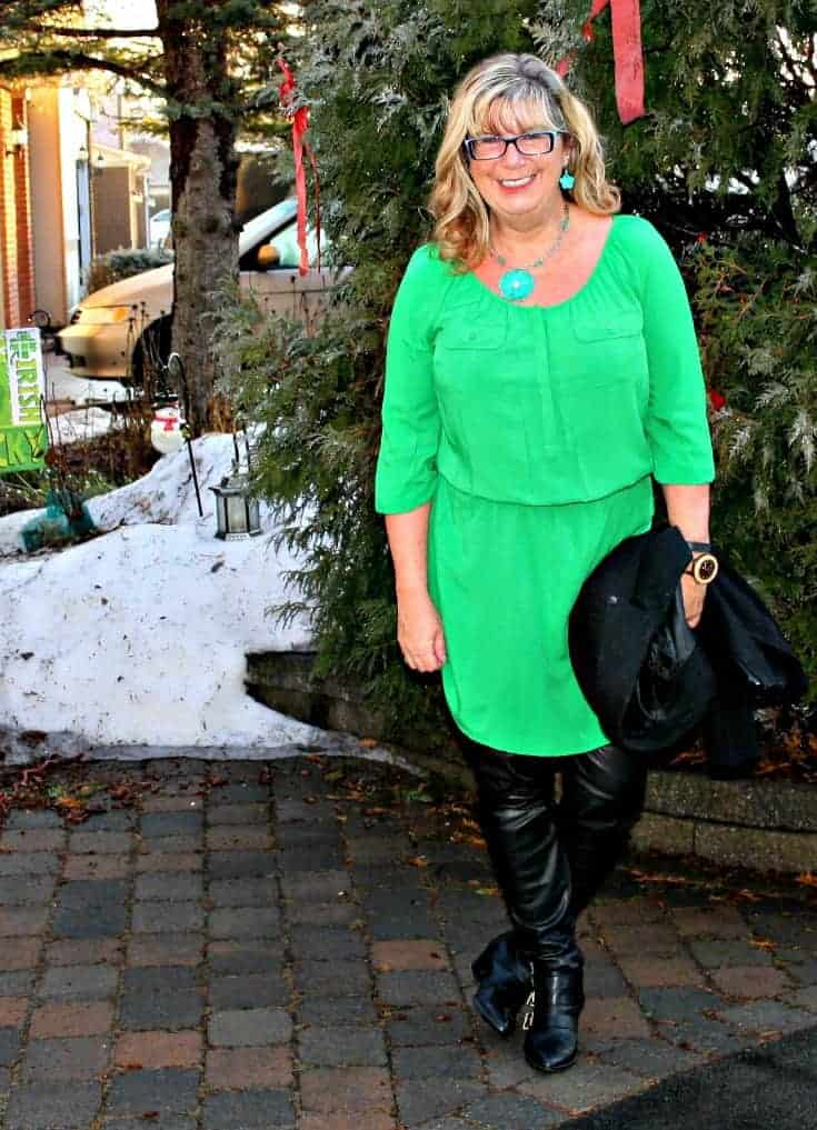 Old Navy Kelly green shirt dress and banana republic wool moto jacket