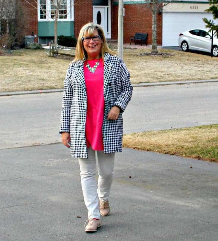 shein coat and a new chic tunic, white denims and blush oxfords from Shoe dazzle