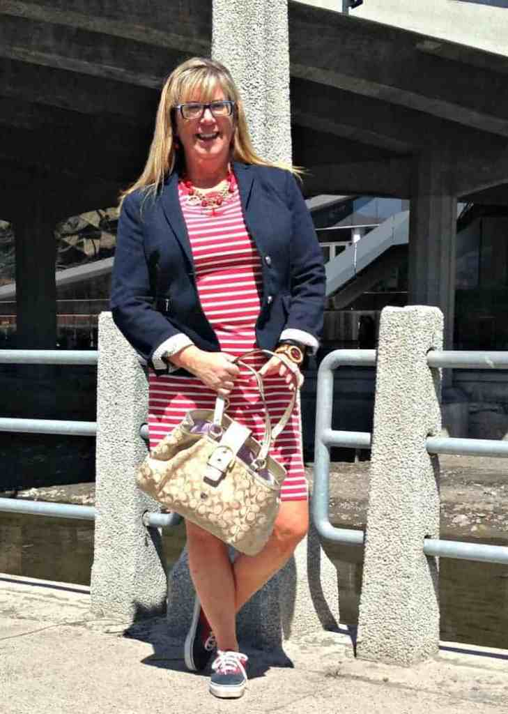 Old Navy Stripe Dress and a nautical theme, paired with two tone vans