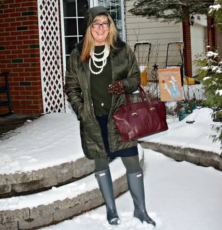 columbia olive green frost free coat, grey hunters and a wine coach