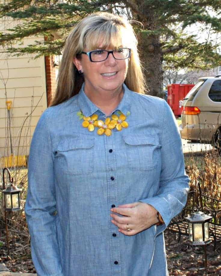J Crew Chambray and Yellow floral necklace