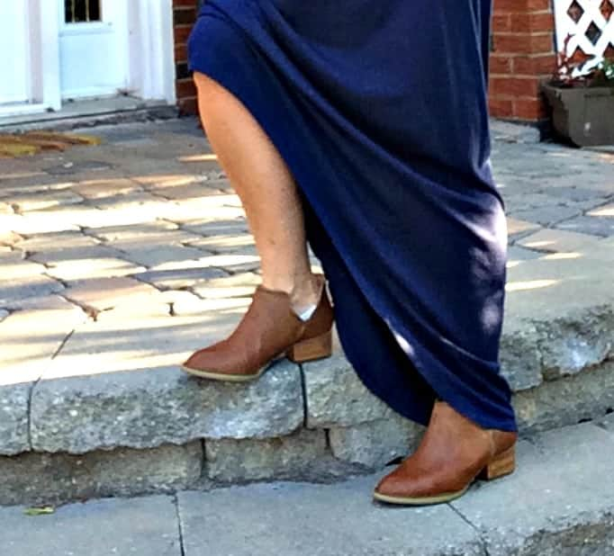 Old navy hi-lo maxi, Forever 21 denim vest and booties