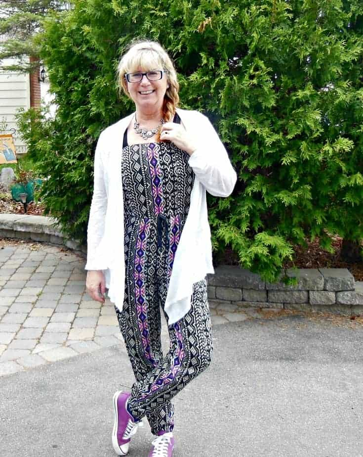 Forever 21 tribal jumpsuit and lace cardigan with purple chucks and a fun braid