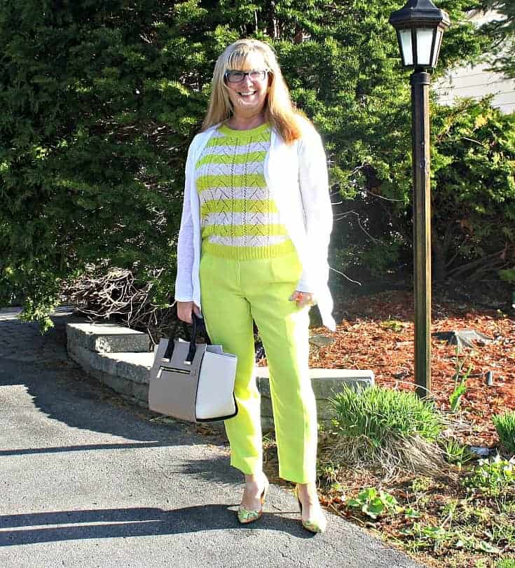 lemon yellow J Crew pants with a striped sweater and paisley pimps from Nine West, jord watch and a great tote.