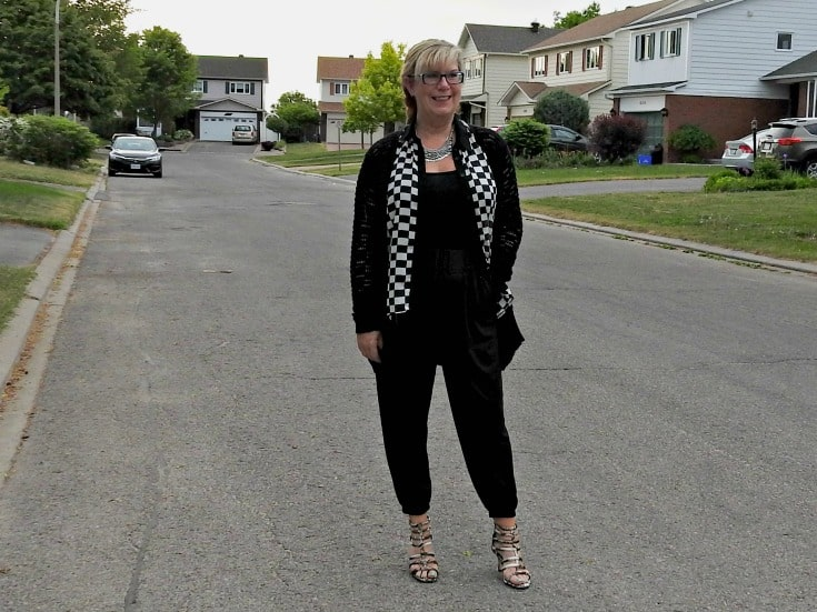 a Jumpsuit from Target and a Blouse and Card and Necklace from Forever 21 plus my fun shoes from Shoe Dazzle.