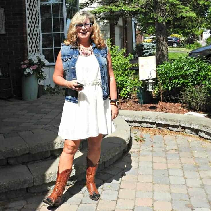Forever 21 cream dress and denim vest, Boulet Cowboy boots, Jord Watch and a Yosa floral necklace