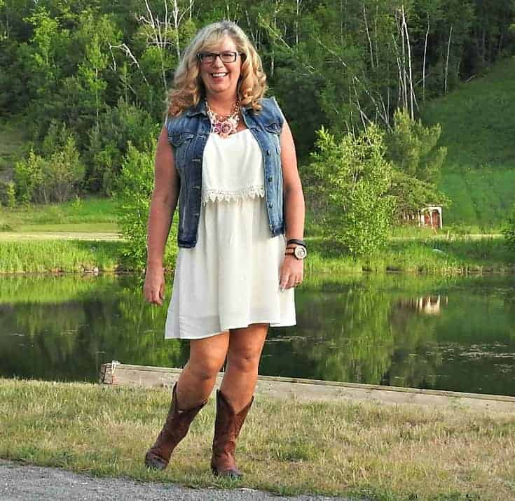 Forever 21 cream dress and denim vest Boulet Cowboy boots, Jord Watch and a Yosa floral necklace.